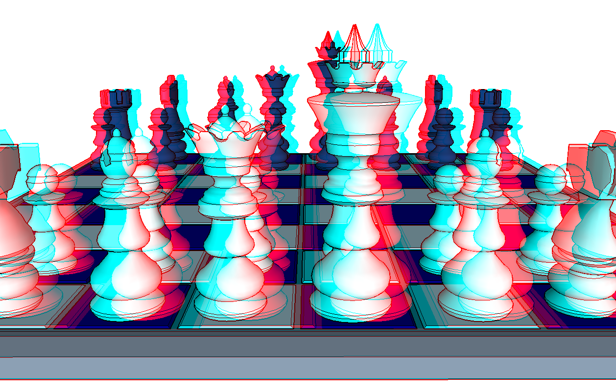 Color anaglyph of chess set.: www.3d-image.net/3D-chess.php
