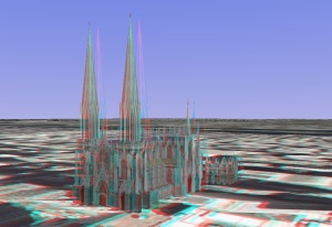 3D - anaglyph - St. Patrick's Cathedral - New York