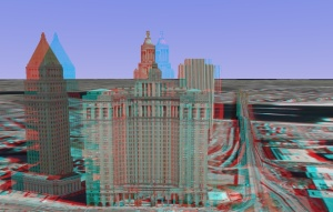 3D - anaglyph - The Manhattan Municipal Building - New York